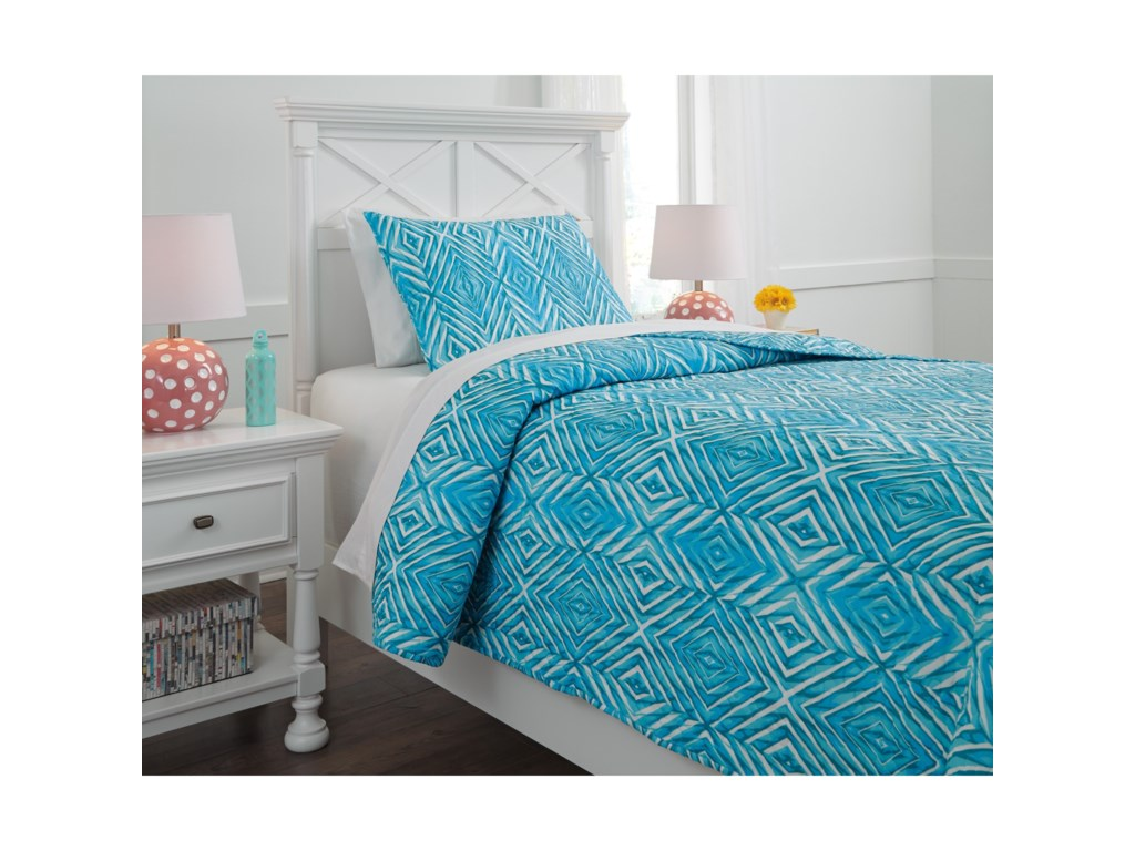 Ashley (Signature Design) Bedding SetsTwin Jolana Turquoise Quilt Set