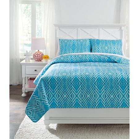 Full Jolana Turquoise Quilt Set