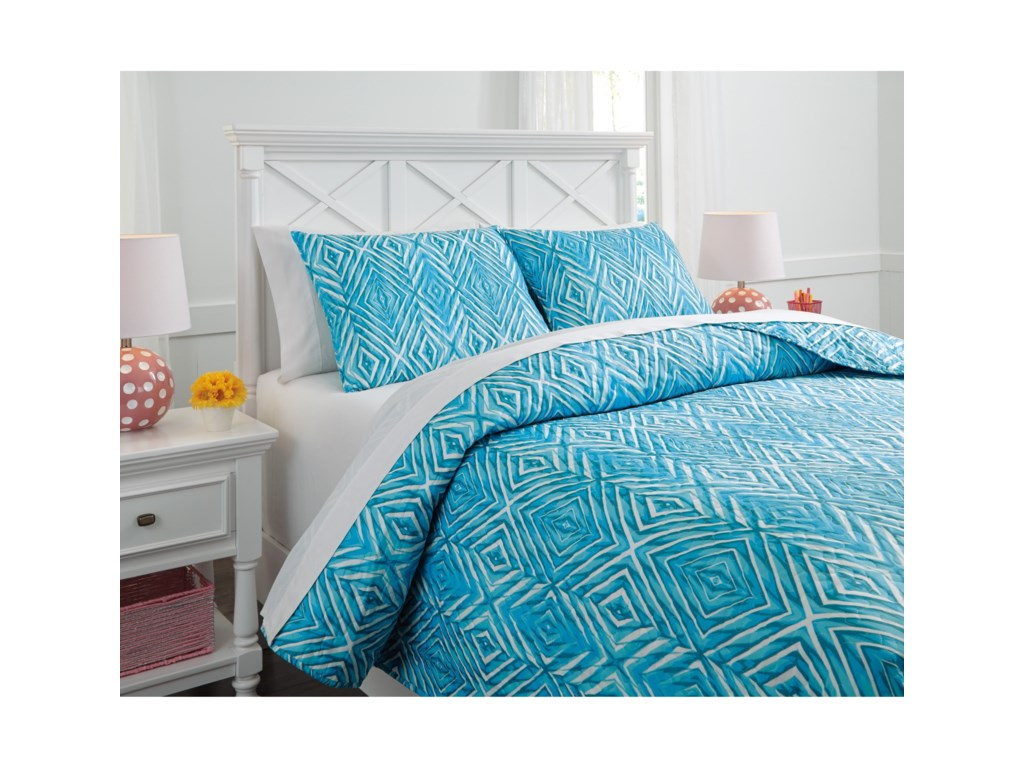 Signature Design by Ashley Bedding SetsFull Jolana Turquoise Quilt Set