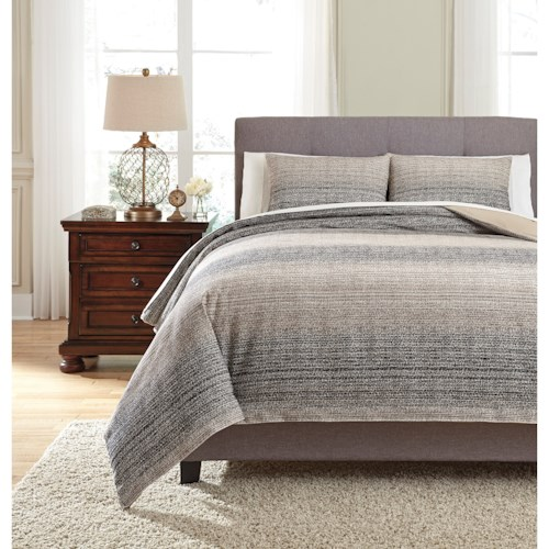 Signature Design by Ashley Bedding Sets King Arturo Natural/Charcoal Duvet Cover Set
