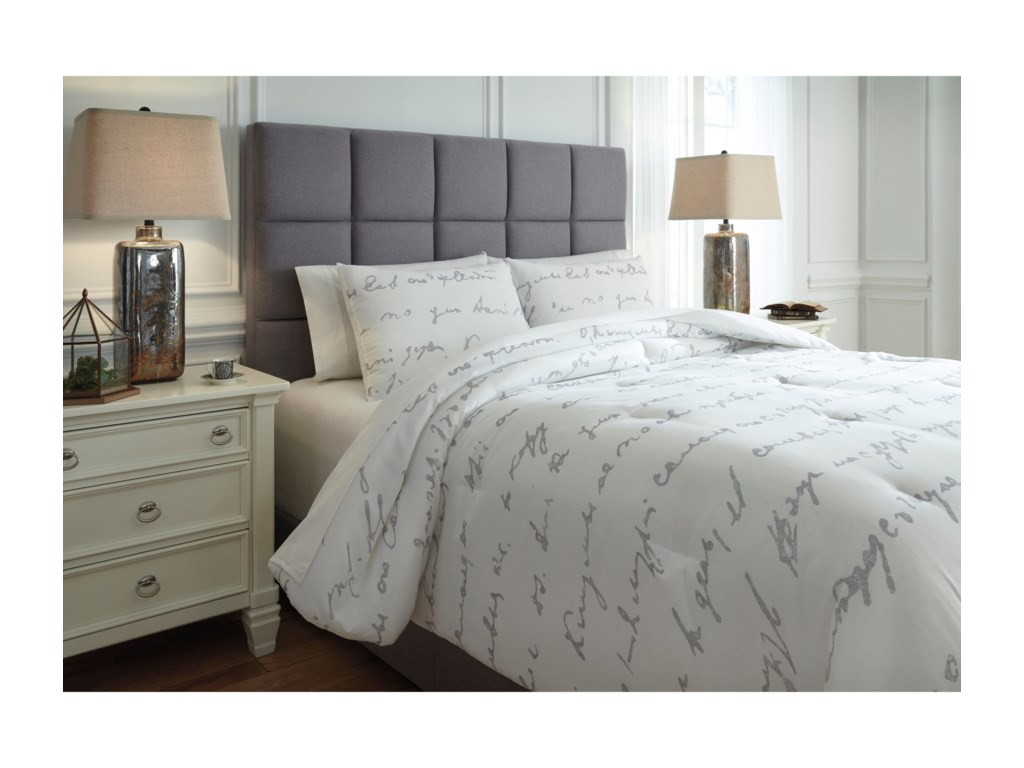 Signature Design by Ashley Bedding SetsQueen Adrianna White/Gray Comforter Set