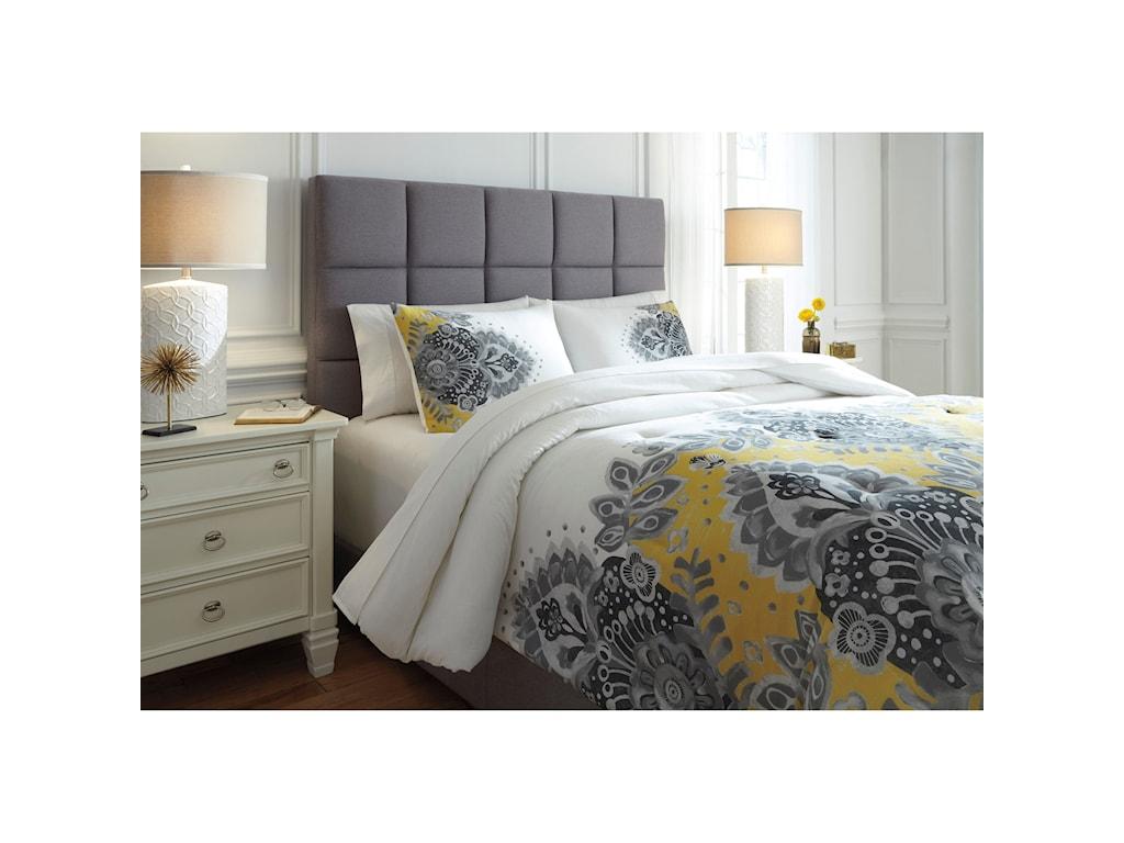 Signature Design by Ashley Bedding SetsKing Maryland Gray/Yellow Comforter Set