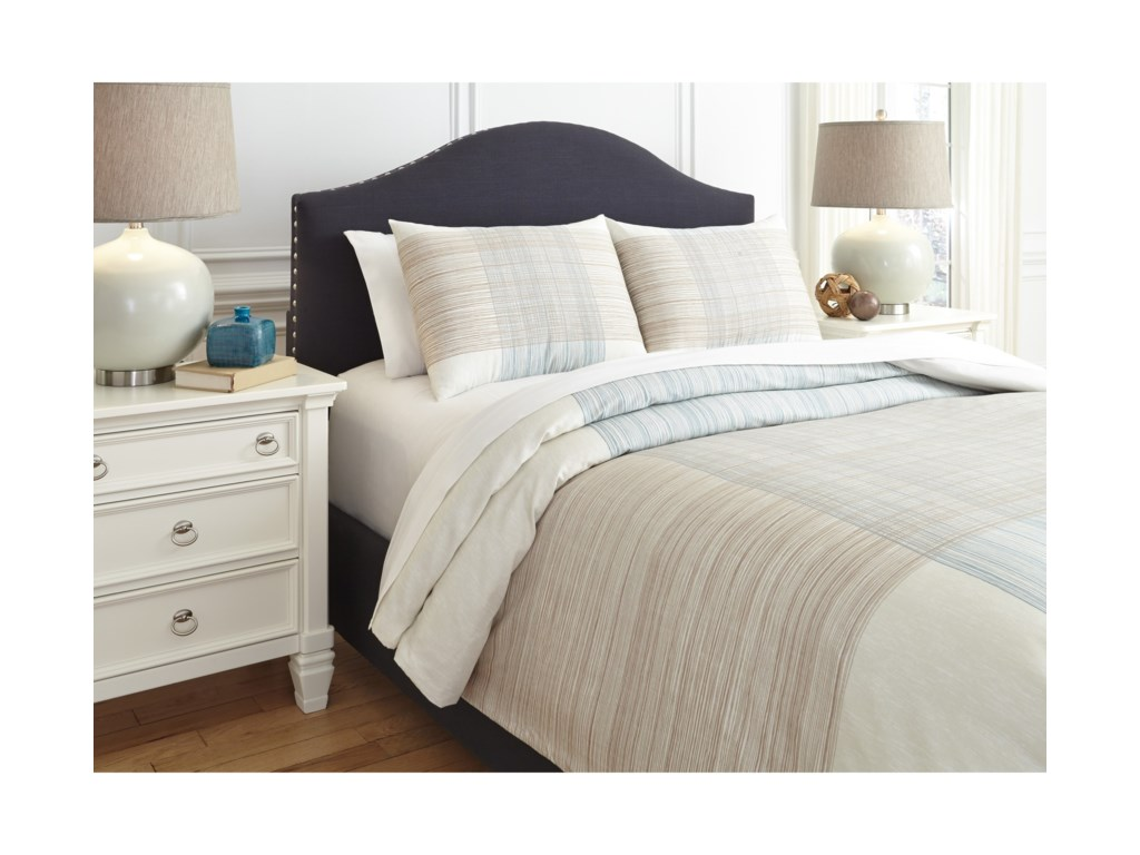 Signature Design by Ashley Bedding SetsQueen Jenae Blue/Brown Duvet Cover Set