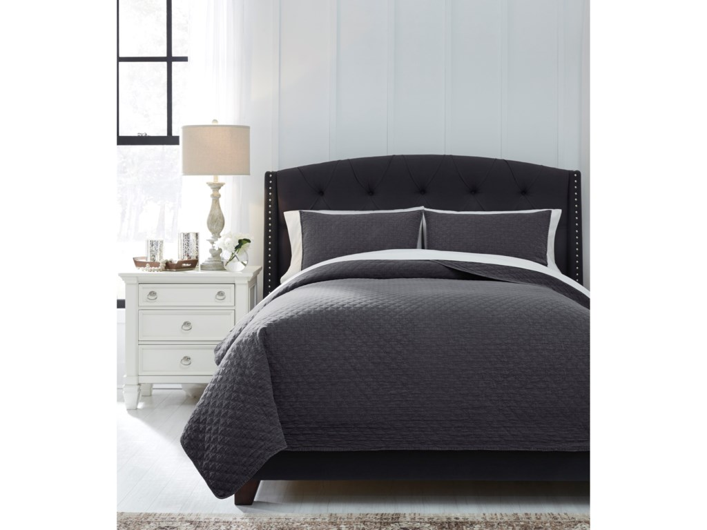 Signature Design by Ashley Bedding SetsQueen Ryter Charcoal Coverlet Set