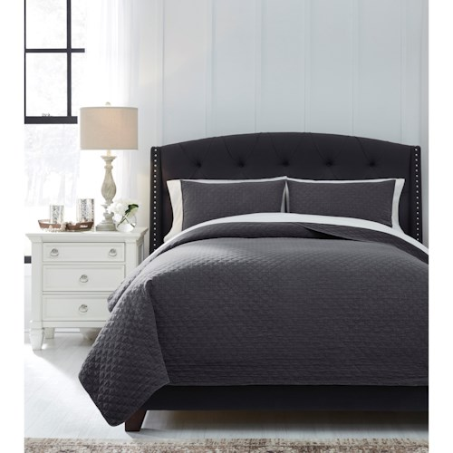 Signature Design by Ashley Bedding Sets Queen Ryter Charcoal Coverlet Set