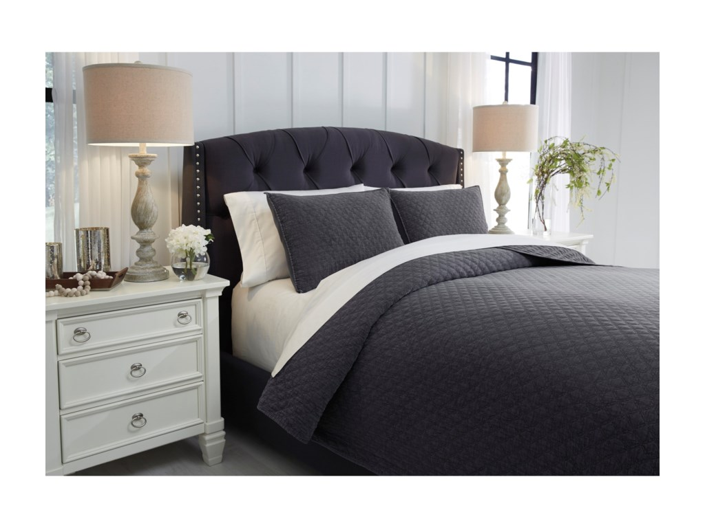 Signature Design by Ashley Bedding SetsKing Ryter Charcoal Coverlet Set