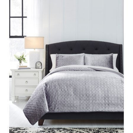 Queen Maryam Gray Coverlet Set