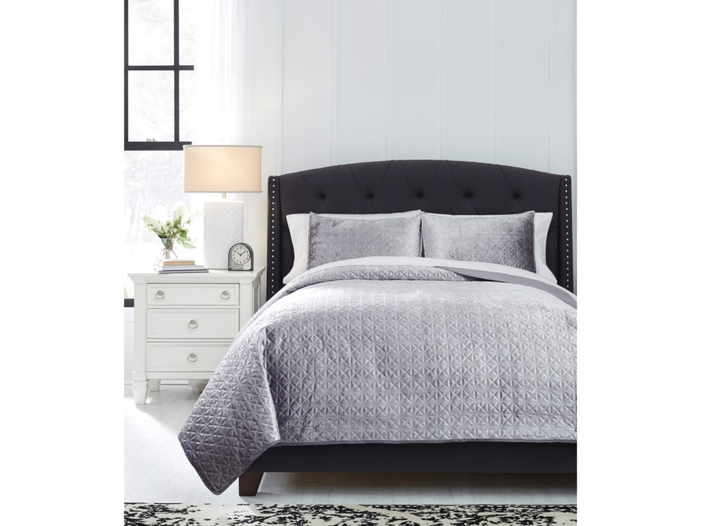 Trendz Bedding SetsQueen Maryam Gray Coverlet Set