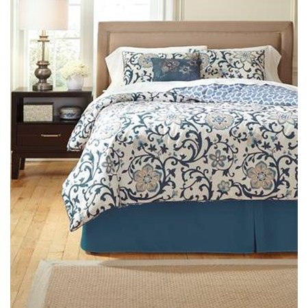Queen Electric Floral Blue Top of Bed Set