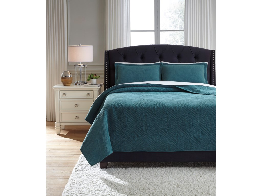 Signature Design by Ashley Bedding SetsQueen Minette Teal Quilt Set