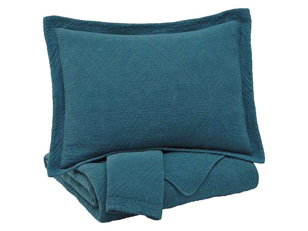 Ashley (Signature Design) Bedding SetsQueen Minette Teal Quilt Set