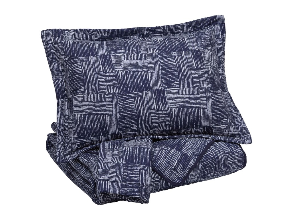 Signature Design by Ashley Bedding SetsKing Jabesh Navy Quilt Set