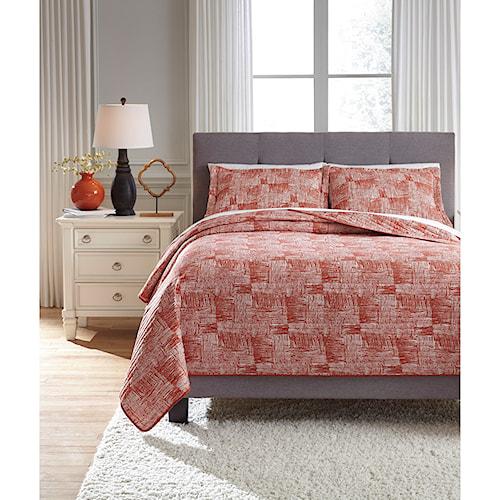 Signature Design by Ashley Bedding Sets Queen Jabesh Orange Quilt Set