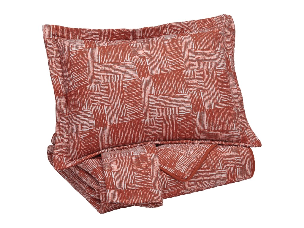 Signature Design by Ashley Bedding SetsKing Jabesh Orange Quilt Set