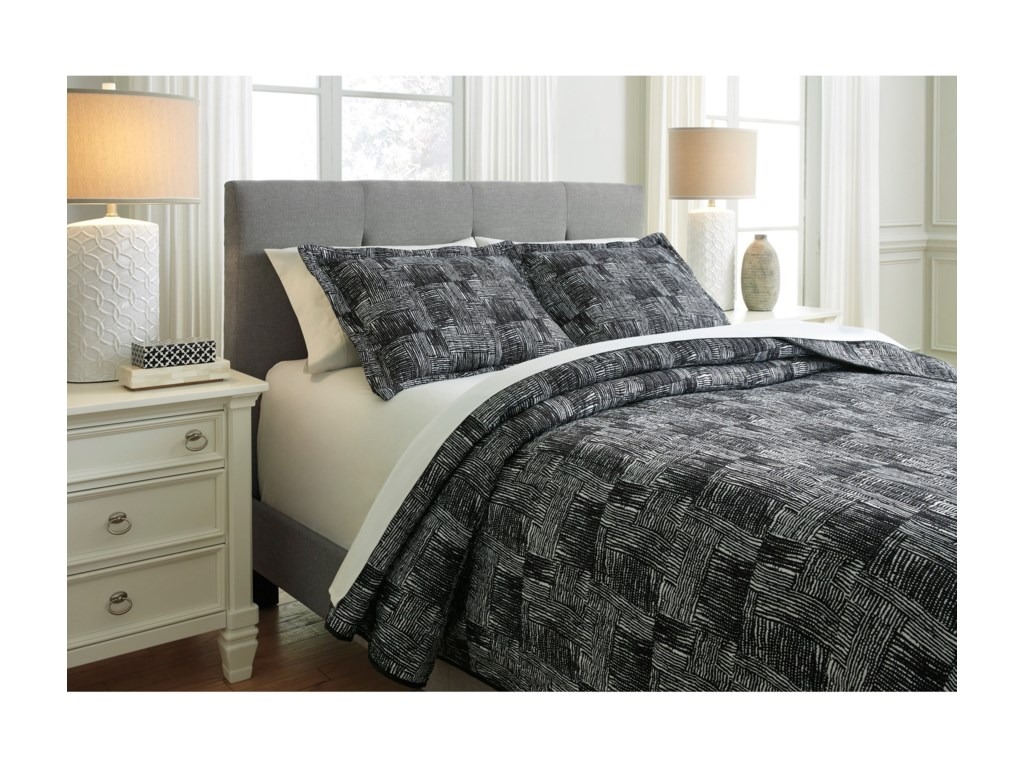 Signature Design Bedding SetsKing Jabesh Black Quilt Set
