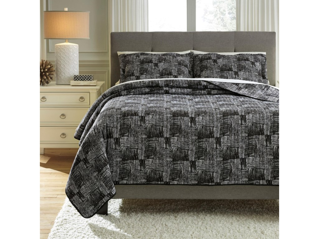Benchcraft Bedding SetsQueen Jabesh Black Quilt Set