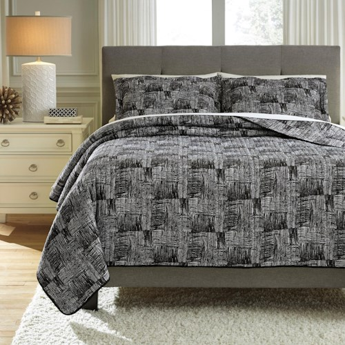 Signature Design by Ashley Bedding Sets King Jabesh Black Quilt Set