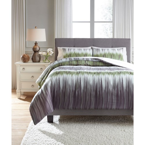 Signature Design by Ashley Bedding Sets King Agustus Gray/Green Comforter Set