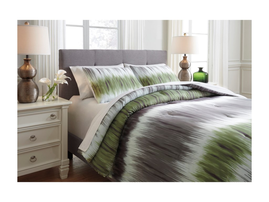 Ashley (Signature Design) Bedding SetsKing Agustus Gray/Green Comforter Set