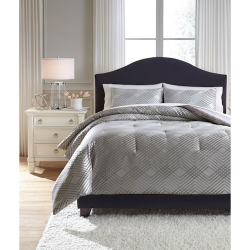 Signature Design by Ashley Bedding Sets Queen Anjelita Pewter Comforter Set