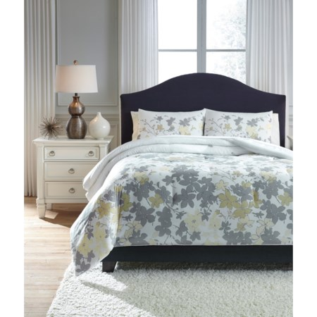 King Maureen Gray/Yellow Comforter Set