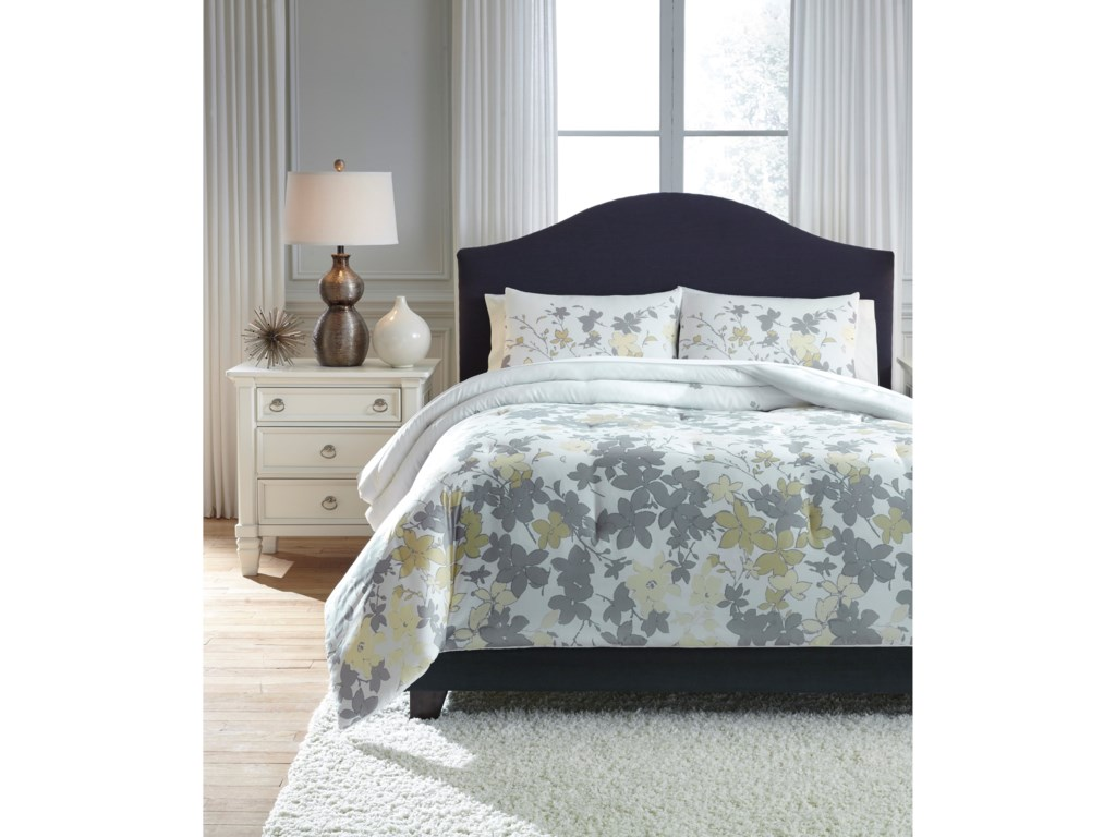 Signature Design by Ashley Bedding SetsQueen Maureen Gray/Yellow Comforter Set