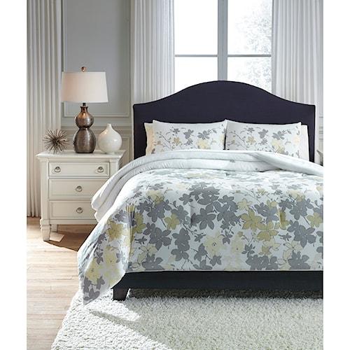 Signature Design by Ashley Bedding Sets Queen Maureen Gray/Yellow Comforter Set