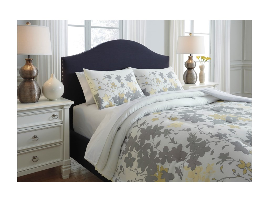 Signature Design by Ashley Bedding SetsQueen Maureen Gray/Yellow Comforter Set