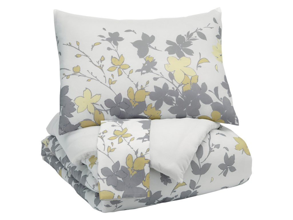 Trendz Bedding SetsKing Maureen Gray/Yellow Comforter Set