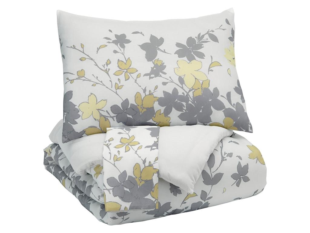 Ashley (Signature Design) Bedding SetsQueen Maureen Gray/Yellow Comforter Set