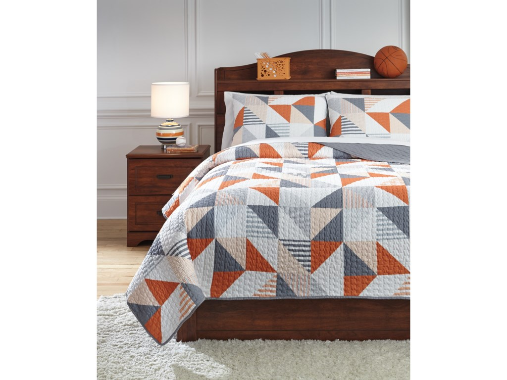 Trendz Bedding SetsFull Layne Gray/Orange Coverlet Set