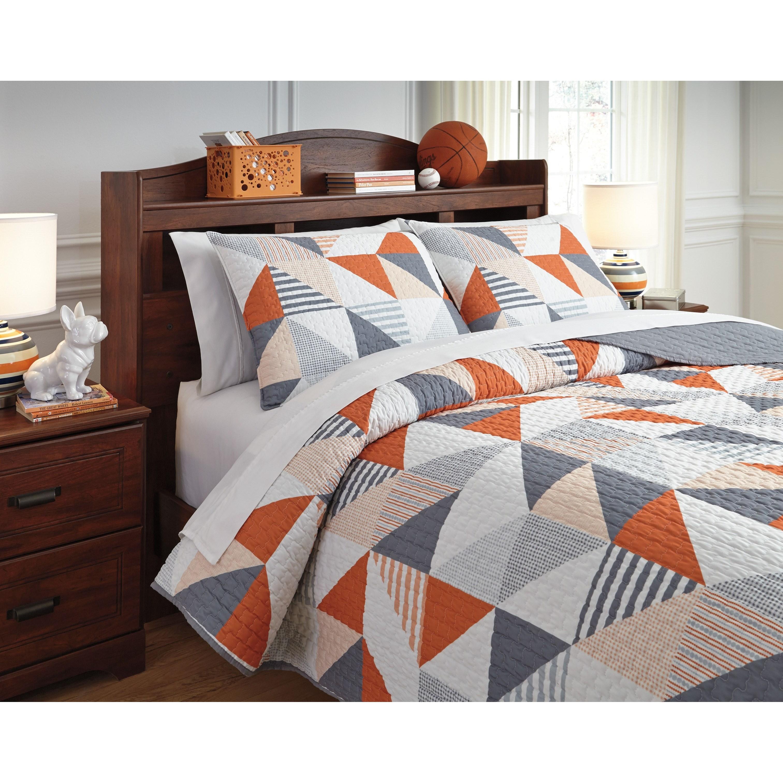 Signature Design By Ashley Bedding Sets Full Layne Gray Orange Coverlet Set Wayside Furniture Bedding Sets