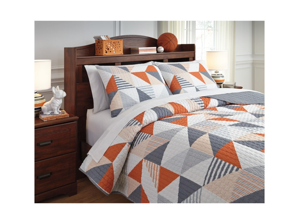 Signature Design by Ashley Bedding SetsFull Layne Gray/Orange Coverlet Set