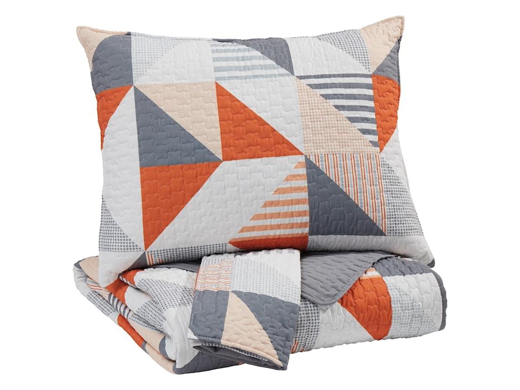 Ashley (Signature Design) Bedding SetsFull Layne Gray/Orange Coverlet Set