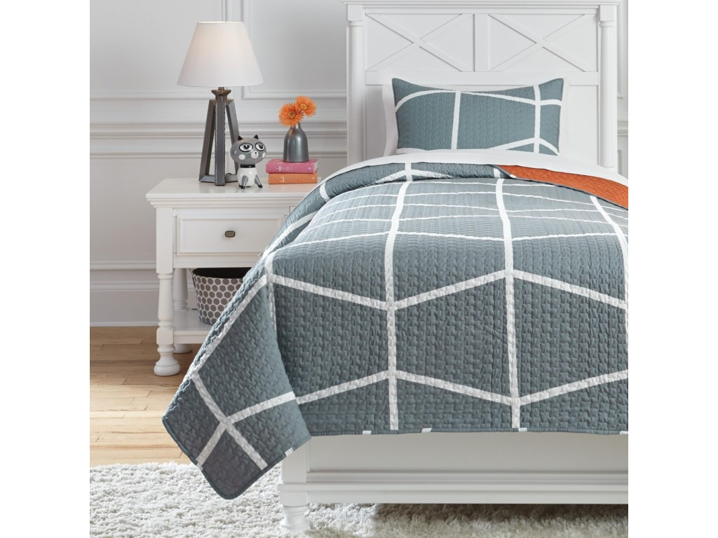 Signature Design By Ashley Bedding Sets Q409001t Twin Gage Gray