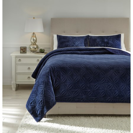 King Linette Blue Quilt Set
