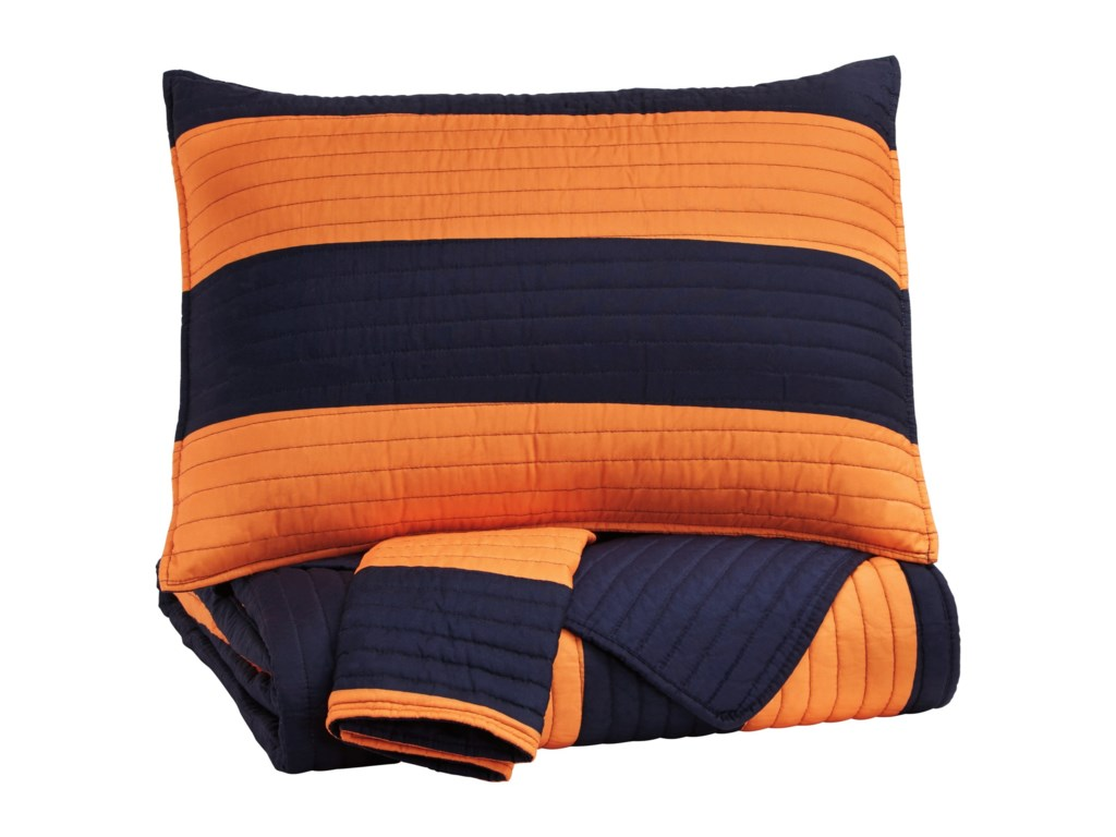 Signature Design by Ashley Bedding SetsFull Nixon Navy/Orange Coverlet Set
