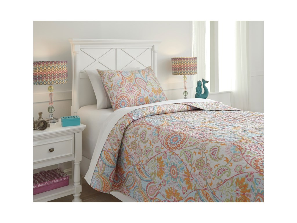 Signature Design by Ashley Bedding SetsTwin Jessamine Pink/Orange Coverlet Set