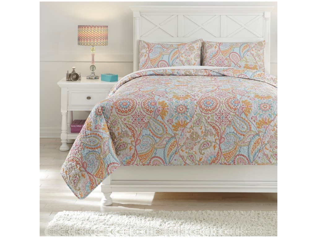 Ashley (Signature Design) Bedding SetsFull Jessamine Pink/Orange Coverlet Set