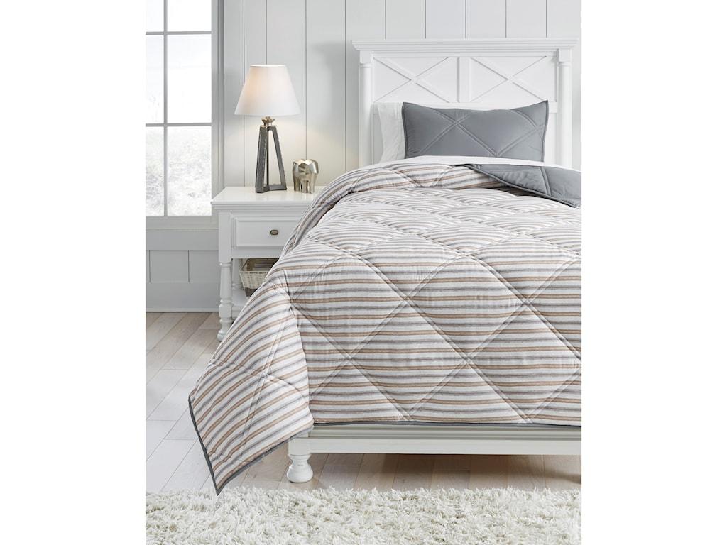 Signature Design by Ashley Bedding SetsTwin Rhey Tan/Brown/Gray Comforter Set