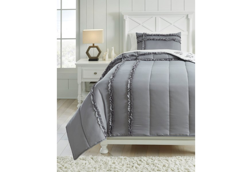 Signature Design By Ashley Bedding Sets Q426001t Twin Meghdad Gray White Reversible Comforter Set Furniture And Appliancemart Bedding Sets