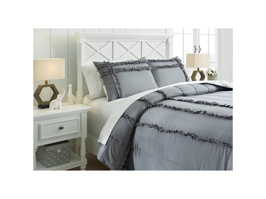 Signature Design by Ashley Bedding SetsFull Meghdad Gray/White Comforter Set