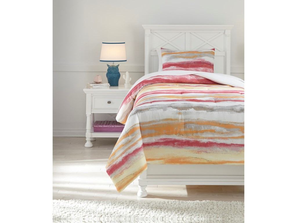 Signature Design by Ashley Bedding SetsTwin Tammy Pink/Orange Comforter Set