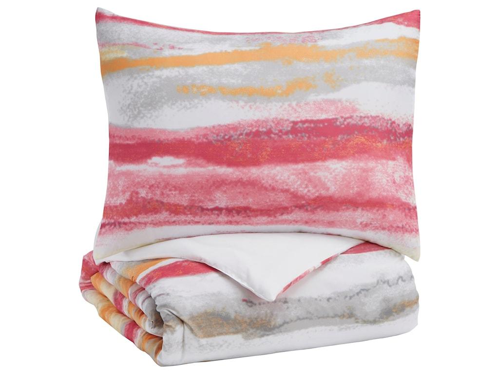 Signature Design by Ashley Bedding SetsTwin Tammy Pink/Orange Comforter Set