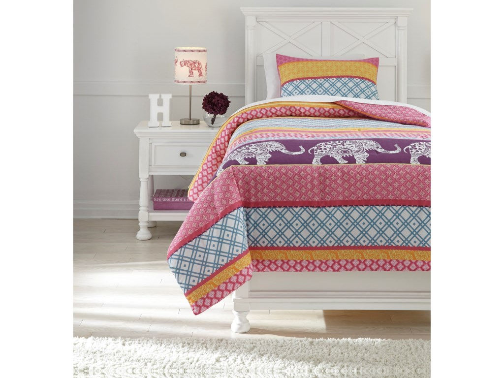 Signature Design by Ashley Bedding SetsTwin Meghana Pink/Orange Comforter Set