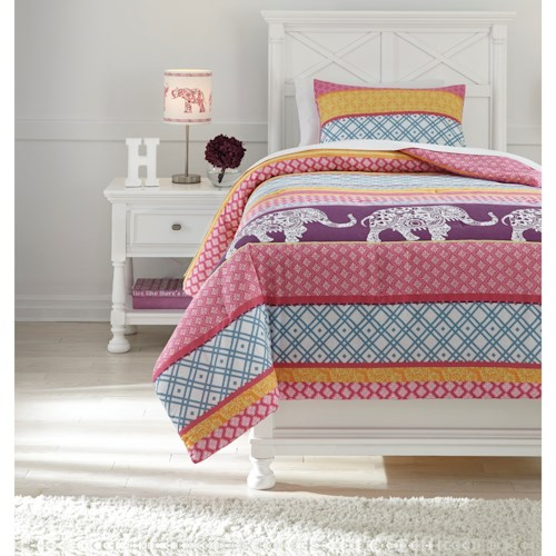 Signature Design by Ashley Bedding Sets Twin Meghana Pink/Orange Comforter Set