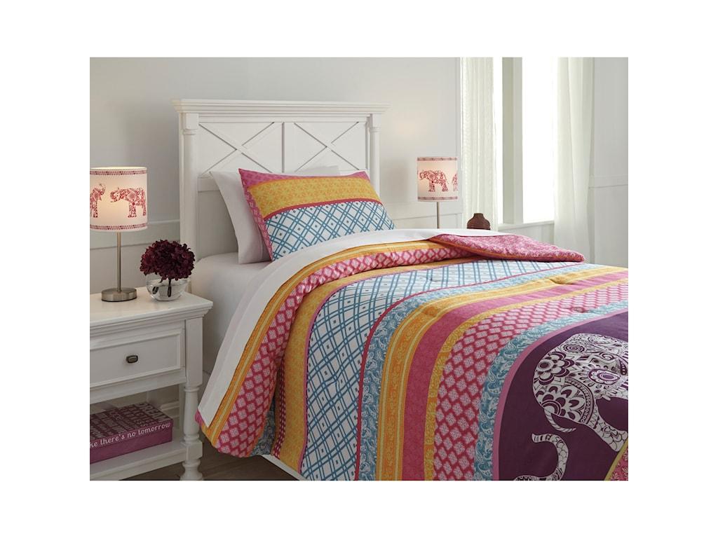 Signature Design by Ashley Bedding SetsTwin Meghana Pink/Orange Comforter Set