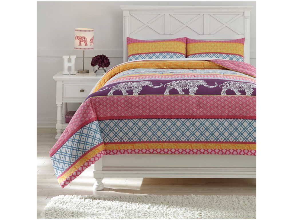 Trendz Bedding SetsFull Meghana Pink/Orange Comforter Set
