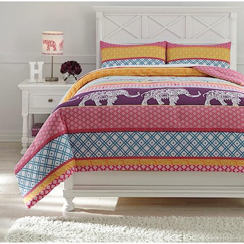 Signature Design by Ashley Bedding Sets Full Meghana Pink/Orange Comforter Set