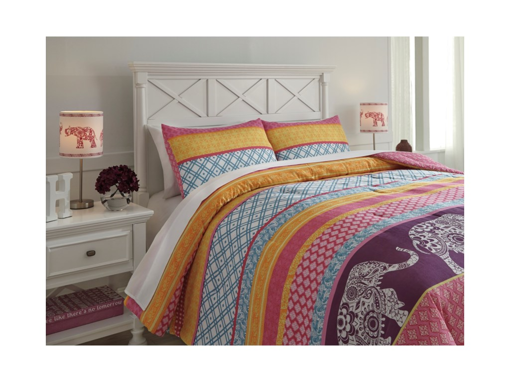 Ashley (Signature Design) Bedding SetsFull Meghana Pink/Orange Comforter Set